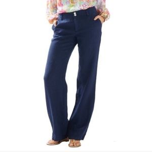 Lilly Pulitzer Cape Coral True Navy Linen Pants |8